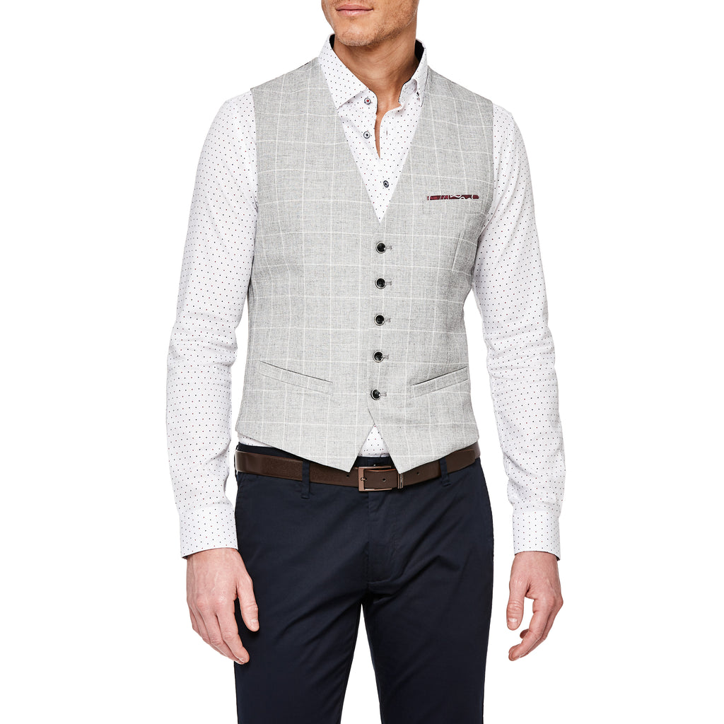 Politix Fellini Vest XV07 Light Grey Check