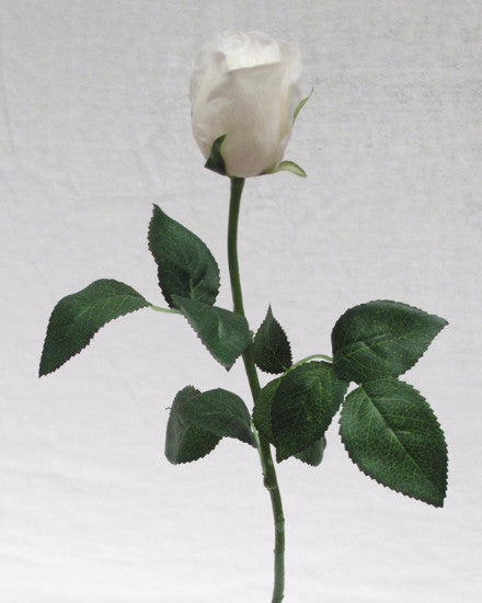 white Real Touch Rose Open Bud GL12722