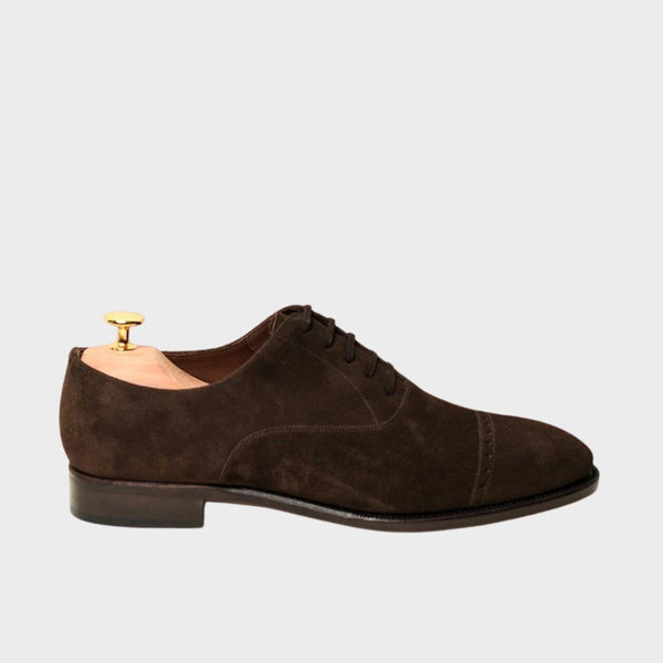 113 Oxford Punched Captoe GOYA Last Brown Suede