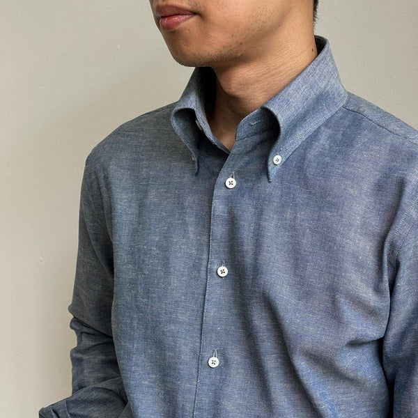 Vintage Cotton Linen Blend Chambray Selvedge Shirting