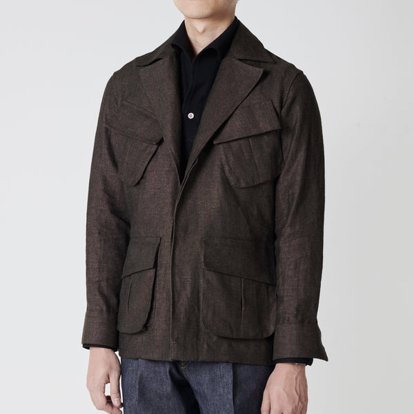 Linen Jungle Safari Jacket - Wide Lapel (Made to Order)*