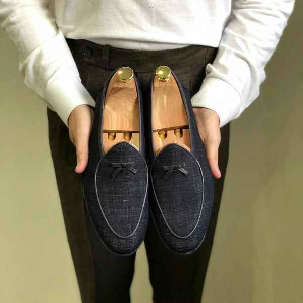 Collect Mill Blue Denim Belgian Loafer
