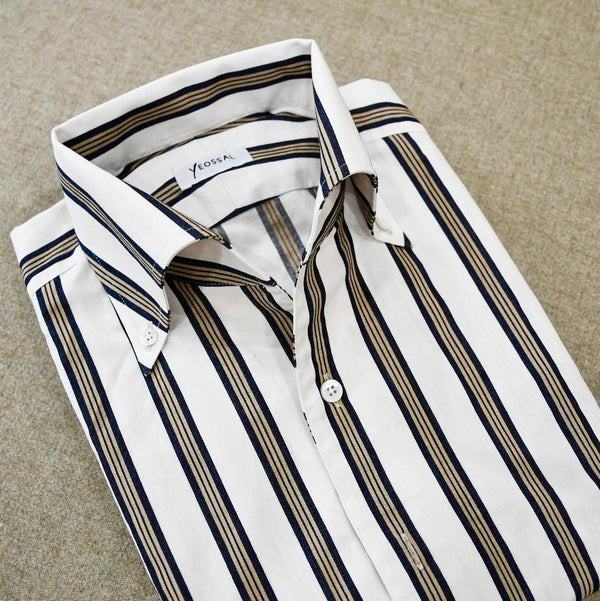 Khaki and Denim wrapped stripes Japanese shirtings