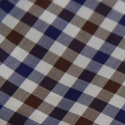 Thomas Mason White/ Brown/ Navy Gingham Shirt