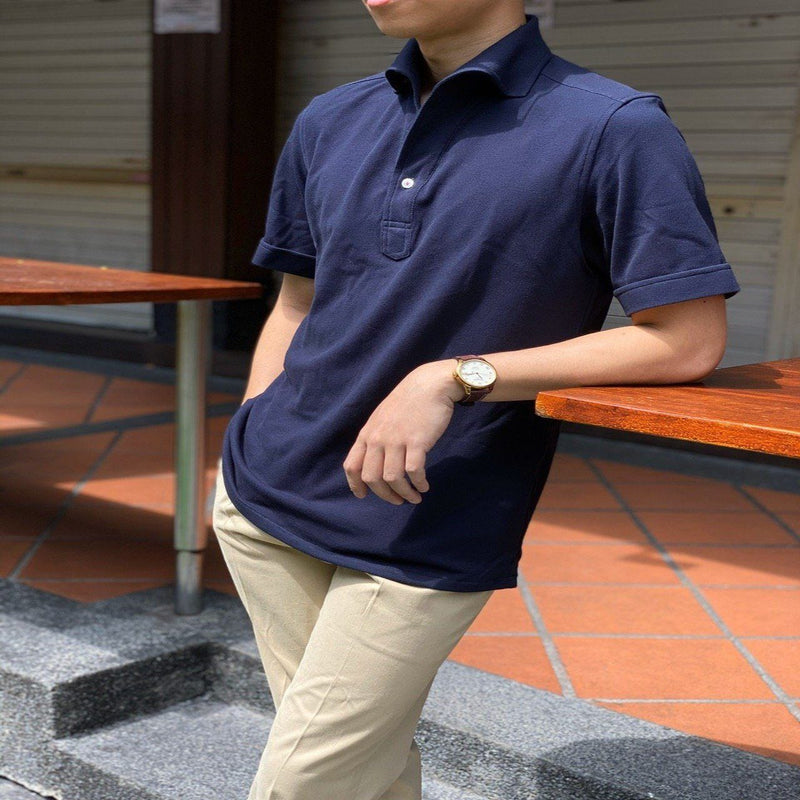 Navy Short Sleeve Artisanal Polo Shirt (Made to Order)