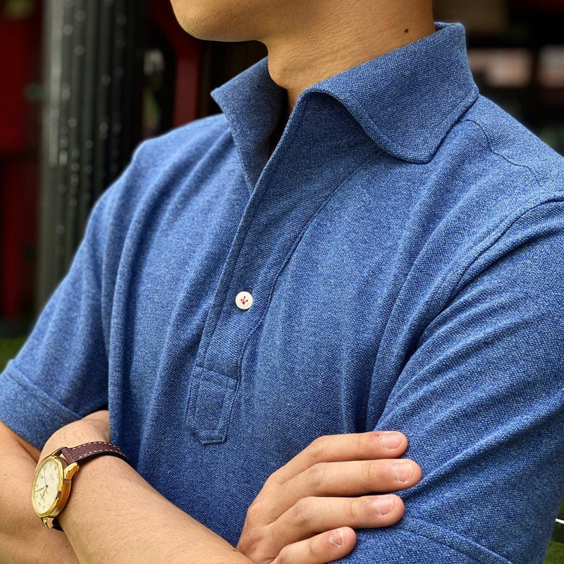 Mottled Denim Short Sleeve Premium Artisanal Polo Shirt (Made to Order)