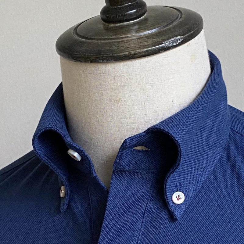 French Blue Pique Cotton Artisanal Polo (MADE TO ORDER)