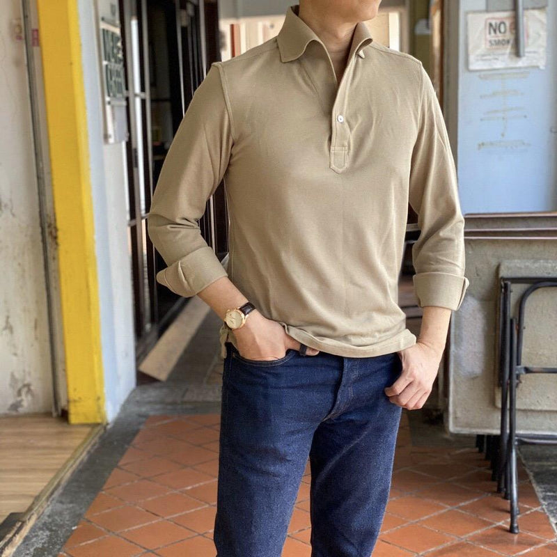 Khaki Pique Cotton Artisanal Polo (MADE TO ORDER)