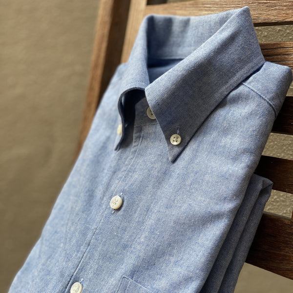 Japanese Heavy Duty Melange Blue Oxford (Made to Order)