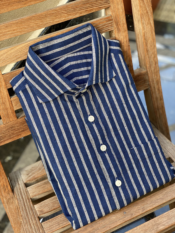 Japanese Indigo Dyed Reverse Striped Shirt (Made to Order)