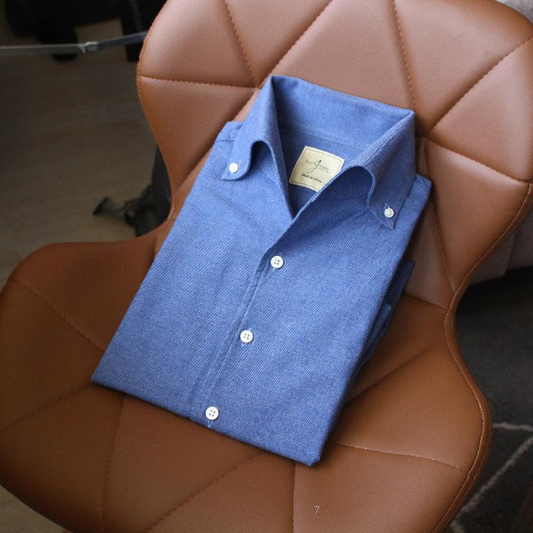 Tessituria Monti Melange Brushed Cotton Tailored Shirt (Made to Order)