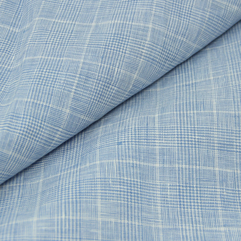 Glen Plaid Blue Linen (Made to Order)