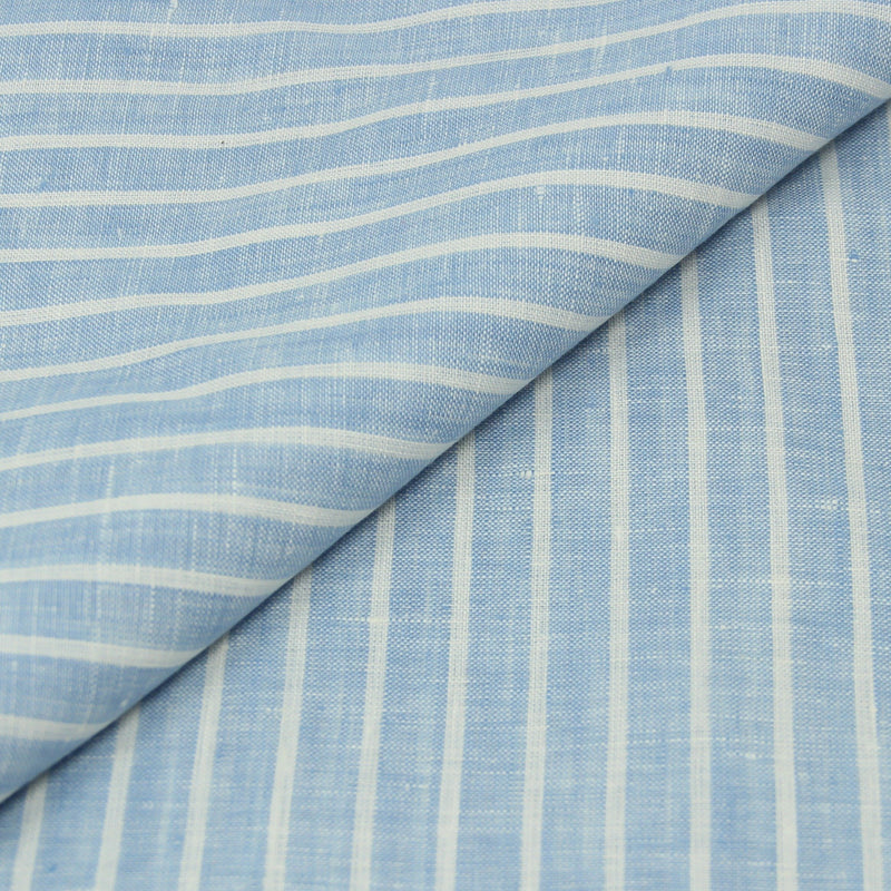 Reverse Stripe Blue Linen (Made to Order)