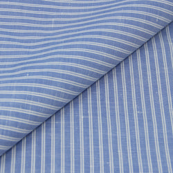 Reverse Stripe Dark Blue Cotton/Linen (Made to Order)