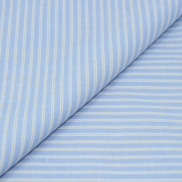 Reverse Stripe Blue Cotton/Linen (Made to Order)