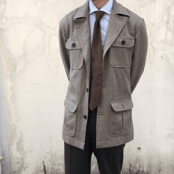 Lanitex Barleycorn Urban Safari Jacket Wide Lapel (Made to Order)*