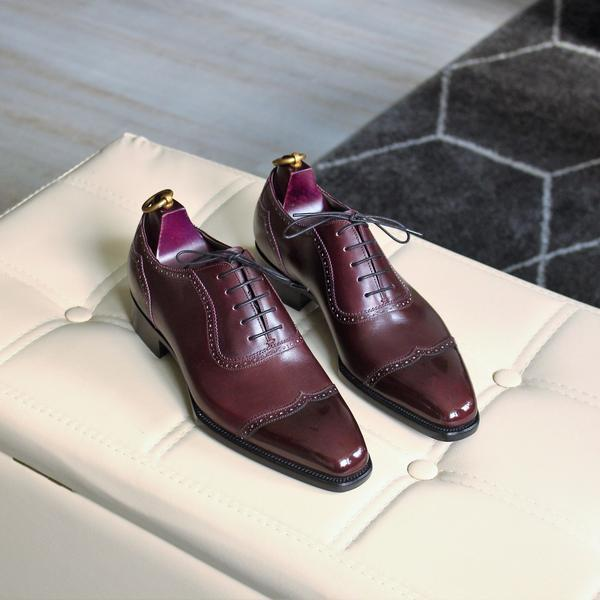 SCOTTS V-CAPTOE OXFORD IN AGED BORDEAUX