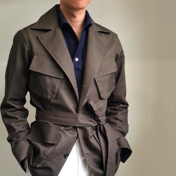 Cotton Jungle Safari Jacket - Wide Lapel(Made to Order)*