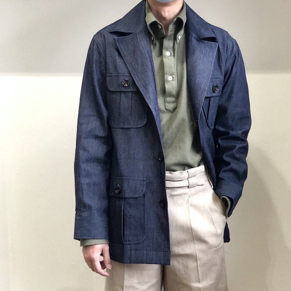 URBAN INDIGO DENIM SAFARI - WIDE LAPEL