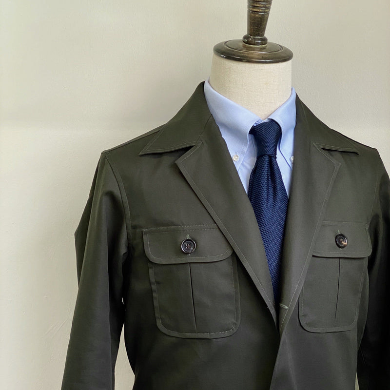 Classic Safari Cotton Jacket - Slim Lapel (Made to Order)
