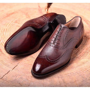 Pebble Grain Brogues in Chestnut