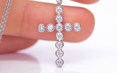 1/26CTW TIFFANY DIAMOND BEZEL SET CROSS RETIRED MODEL - SinCityFinds Jewelry