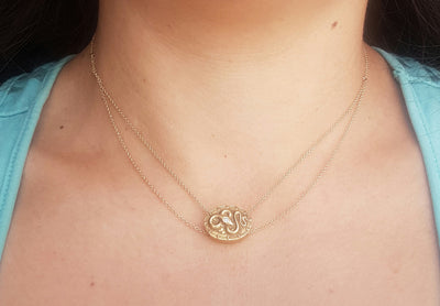 VINTAGE 14K GOLD SNAKE SLIDER PENDANT NECKLACE - SinCityFinds Jewelry