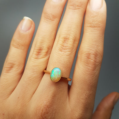 18K YELLOW GOLD AND BEZEL SET OPAL SOLITAIRE RING - SinCityFinds Jewelry