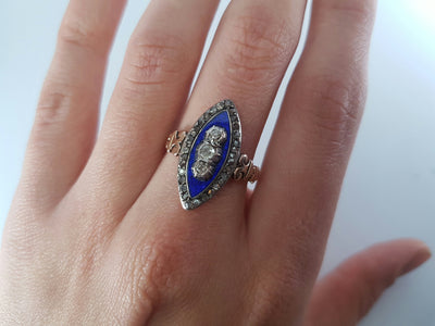 ANTIQUE ENAMEL OLD MINE CUT AND ROSE CUT DIAMOND NAVETTE STYLE RING