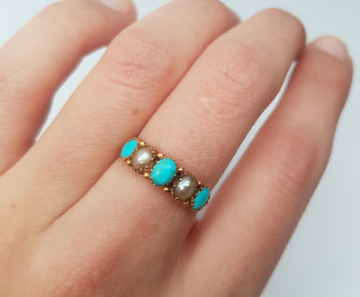 ANTIQUE TURQUOISE AND PEARL 5 STONE BAND IN YELLOW GOLD - SinCityFinds Jewelry