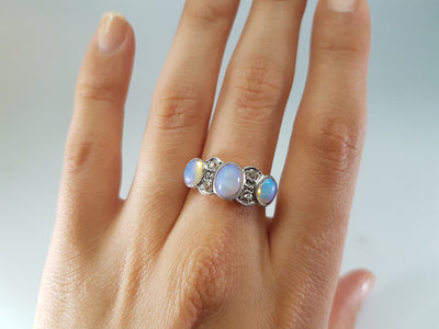 ANTIQUE OPAL AND OLD MINE CUT DIAMOND RING IN GOLD AND PLATINUM - SinCityFinds Jewelry