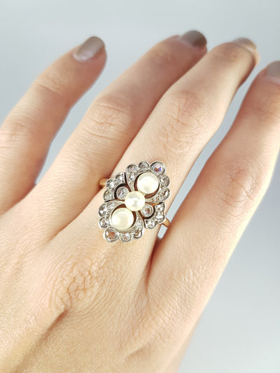 ANTIQUE PEARL AND ROSE CUT DIAMOND RING IN GOLD AND SILVER - SinCityFinds Jewelry