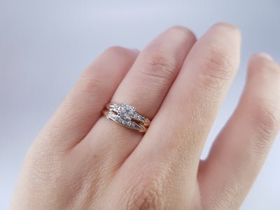 0.30CTW VINTAGE DIAMOND WEDDING SET SIGNED BLUEBIRD