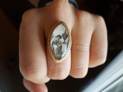 GEORGIAN MINIATURE PAINTING RING 1782 - SinCityFinds Jewelry