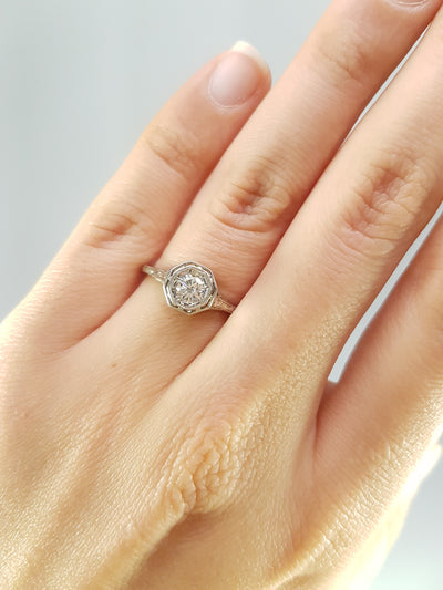 VINTAGE  WHITE GOLD OCTAGONAL SETTING DIAMOND RING - SinCityFinds Jewelry