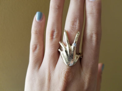 HEAVY VINTAGE FIGURAL HAND  RING - SinCityFinds Jewelry