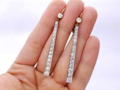 3CTW+ LONG EARRINGS WITH OLD CUT DIAMONDS - SinCityFinds Jewelry
