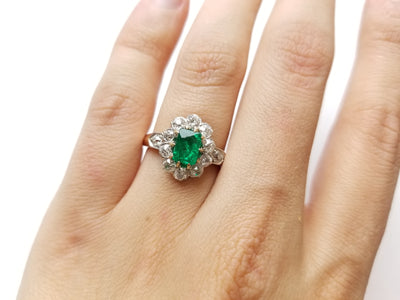 1.75CTW EMERALD AND OLD EUROPEAN CUT DIAMOND FRENCH RING - SinCityFinds Jewelry