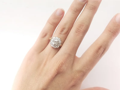 1.95CTW OLD MINE CUT DIAMOND HALO RING