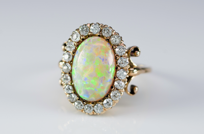 OPAL AND OLD CUT DIAMOND HALO RING - SinCityFinds Jewelry