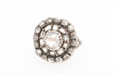 ANTIQUE ROSE CUT AND TABLE CUT DIAMOND CLUSTER RING - SinCityFinds Jewelry