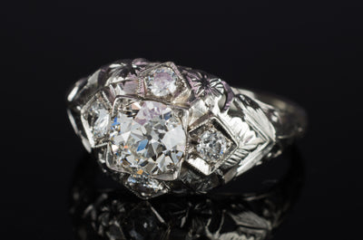 ART DECO OLD EUROPEAN CUT DIAMOND RING