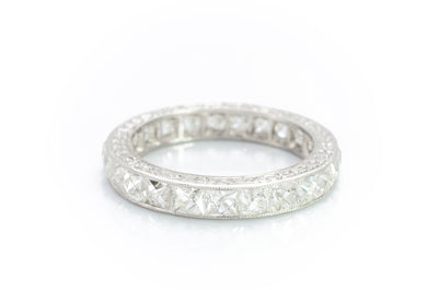3.9CTW FRENCH CUT ETERNITY BAND IN PLATINUM