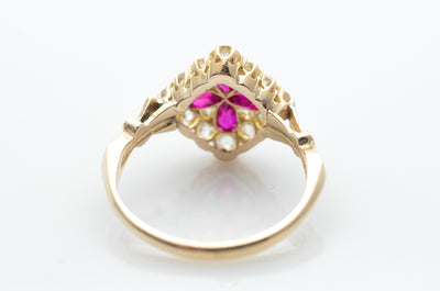 EDWARDIAN QUATREFOIL RUBY AND OLD EUROPEAN CUT DIAMOND RING - SinCityFinds Jewelry