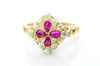EDWARDIAN QUATREFOIL RUBY AND OLD EUROPEAN CUT DIAMOND RING