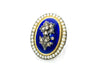 ANTIQUE BLUE ENAMEL PEARL AND ROSE CUT DIAMOND RING - SinCityFinds Jewelry