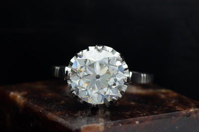 VINTAGE PLATNUM MOUNTING WITH 10.5MM OEC MOISSANITE - SinCityFinds Jewelry