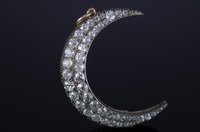 5.3CTW ANTIQUE DIAMOND CRESCENT BROOCH - SinCityFinds Jewelry