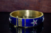 ANTIQUE ENAMELED HEAVY 18K GOLD BANGLE WITH DIAMONDS AND RUBY - SinCityFinds Jewelry