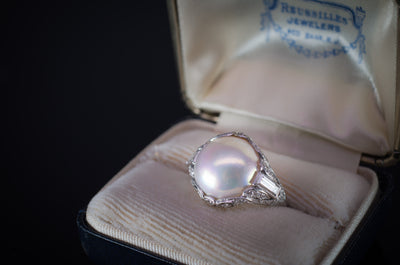 PLATINUM PEARL AND DIAMOND ART DECO RING - SinCityFinds Jewelry